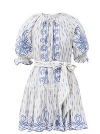 INNIKA CHOO Justine Taiym ramie-ikat mini dress ~ blue and white summer dresses