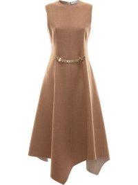 JW Anderson chain detail asymmetric dress in camel brown