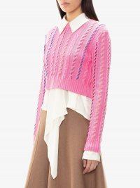 JW Anderson cropped darning crewneck jumper | pink knits