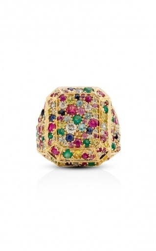 Aisha Baker 18K Yellow Gold Disco Ring ~ chunky multicolored gemstone rings - flipped