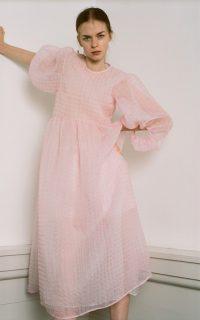 Cecilie Bahnsen Karmen Textured Silk-Blend Chiffon Midi Dress ~ dreamy pink dresses