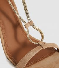 REISS KENDALL CHAIN DETAIL HEELED SANDALS GOLD