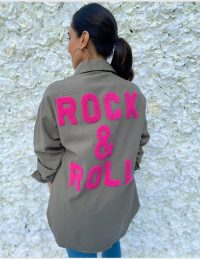 FOREVER UNIQUE Khaki And Pink 'Rock & Roll' Shirt / slogan shirts / casual wear