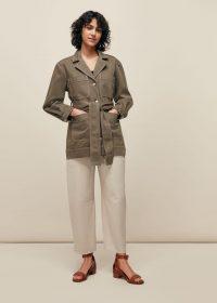 WHISTLES BELTED SAFARI JACKET ~ casual khaki jackets