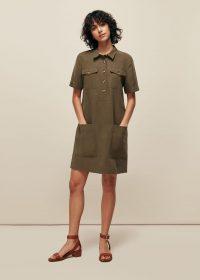 WHISTLES POCKET DETAIL LINEN MIX DRESS ~ utility inspired dresses