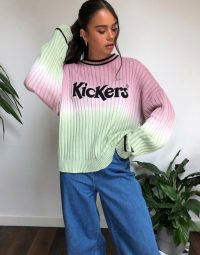 Kickers relaxed jumper with front logo in ombre knit pink green