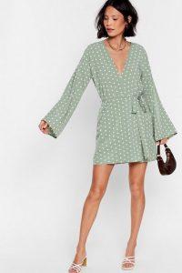 NASTY GAL Kimono Here Often Polka Dot Mini Dress