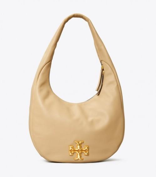 TORY BURCH KIRA DECONSTRUCTED HOBO Savannah / logo insignia bags