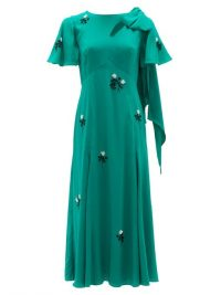 ERDEM Kirstie floral-beaded bias-cut silk dress ~ green flutter sleeve dresses