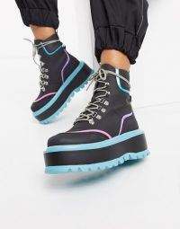 Koi Footwear Spectre vegan flatform hiker boot in multi coloured | flat chunky sole boots