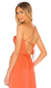 L'Academie The Kali Top Red Coral / bright strappy back tops