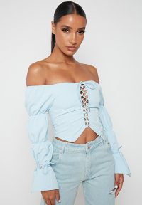 Manière De Voir LACE UP PUFF SLEEVE TOP – BLUE | summer bardot tops