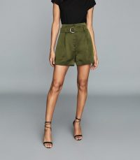 REISS LANIE BELTED SHORTS GREEN ~ essential summer style