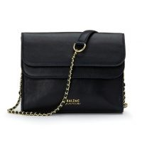 BALZAC PARIS X LA REDOUTE COLLECTIONS Leather Flap Bag with Chain in blue