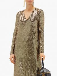 GUCCI Leather-choker chainmail maxi dress / gold statement dresses / event glamour