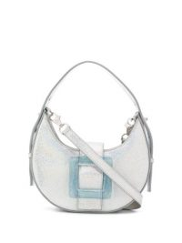 LES PETITS JOUEURS buckle-detail shoulder bag in metallic-silver leather | cute handbags