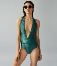 Reiss LIESEL TWIST DETAIL HALTERNECK SWIMSUIT GREEN ~ pool side glamour
