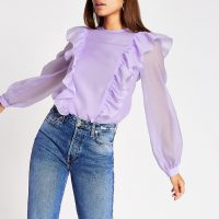 RIVER ISLAND Light purple frill sheer top – ruffle detail blouse