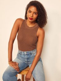 Reformation Lilac Top Toffee | sleeveless knits