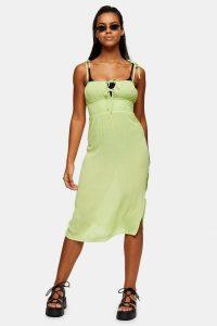 TOPSHOP Lime Green Ruched Front Midi Dress side split summer dresses