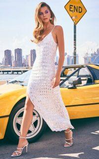 Retrofête Linnea Sequined Georgette Maxi Dress / white sequinned cami dresses