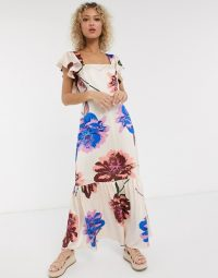 Liquorish square neck ruffle shoulder smock maxi dress in oversized bloom in ivory based floral / bold prints