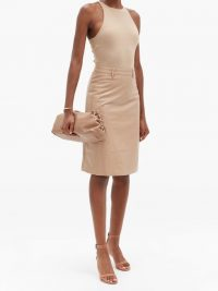 DODO BAR OR Lolita crocodile-effect leather skirt in pink beige ~ luxury skirts