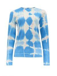 LOEWE PAULA'S IBIZA Long-sleeved tie-dye silk top / blue long sleeve crew neck