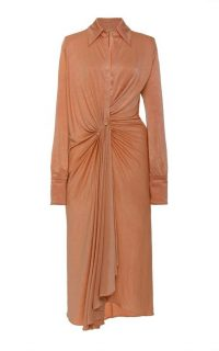 DoDo Bar Or Lorenne Ruched Satin-Jersey Dress ~ neutral dresses
