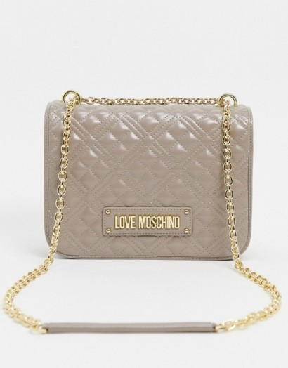Love Moschino quilted shoulder bag in taupe / designer logo flap bags / chain strap handbags