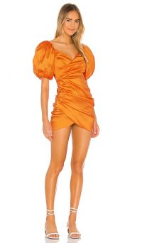 Lovers + Friends Benedetta Mini Dress Orange / puff sleeved ruched dresses