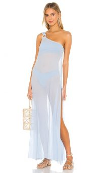 lovewave Demi Dress vista blue ~ sheer one shoulder pool dresses ~ beach bar fashion