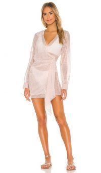 lovewave LIliana Shirt Dress Coral Stripe ~ sheer beach cover-up