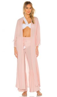lovewave The Hallie Maxi Robe light pink ~ sheer pool side robes ~ long cover-ups