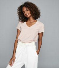 REISS LUANA COTTON-JERSEY V-NECK T-SHIRT PINK / casual essentials / classic look t-shirts