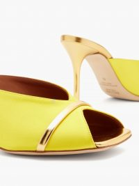 MALONE SOULIERS Lucia square-toe yellow-satin and metallic-leather mules