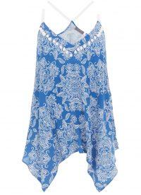 MINT VELVET Lucille Print Boho V-Neck Cami | handkerchief hem camisole