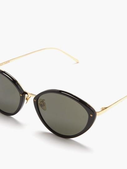 LINDA FARROW Lucy cat-eye acetate sunglasses | oval frames | black tinted lenses