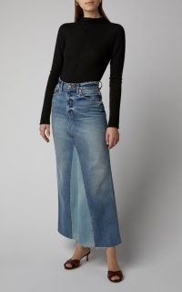 Khaite Magdelena Two-Tone Denim Maxi Skirt