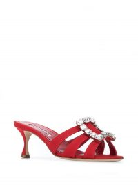 Manolo Blahnik Iluna embellished buckle sandals in red ~ cut-out mules