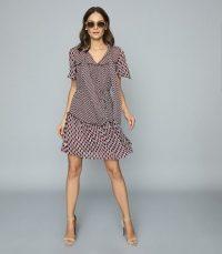 Reiss MANUELLA PRINTED CHIFFON MINI DRESS RED ~ flowy summer dresses
