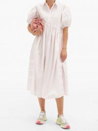 CECILIE BAHNSEN Margo pintucked cotton-poplin midi shirt dress ~ voluminous summer dresses