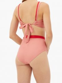 CASA RAKI Marina square-neck bikini top ~ pink tie back bikinis