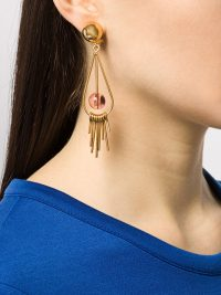 Marni sphere tear drop earrings ~ glamorous clip-on drops