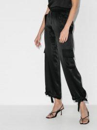 Matériel Satin Cargo Trousers ~ black ankle tie pants