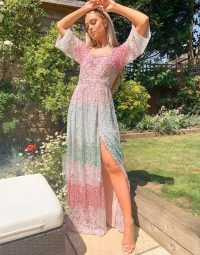 Maya contrast embellished square neck maxi dress with fluted sleeve detail in multi / glittering sequinned dresses