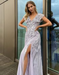 Maya embellished cap sleeve maxi dress in lilac / thigh high slit occasion dresses