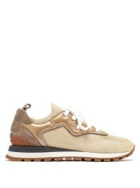 BRUNELLO CUCINELLI Metallic leather-trimmed trainers / gold luxe sneakers