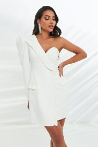 LAVISH ALICE micro ruffle detail tailored dress in white – one shoulder jacket dresses