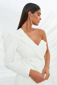 LAVISH ALICE micro ruffle detail tailored jacket in white – one puffed sleeve jackets